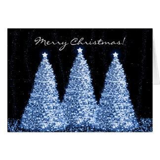 Frohe Weihnacht-elegante Schein-Bäume blau Karte