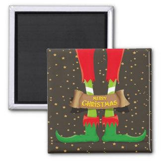 Frohe Weihnacht-Elf-Beine Quadratischer Magnet