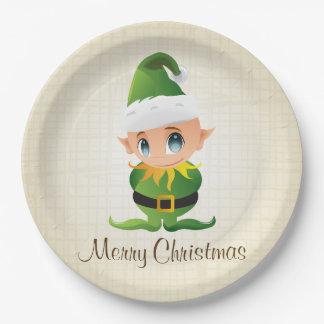 Frohe Weihnacht-Elf-Feiertags-Papier-Teller Pappteller