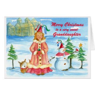 Frohe Weihnacht-Enkelin-Prinzessin Castle Karte
