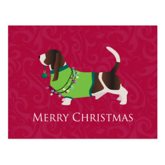 Frohe Weihnacht-Entwurf Basset Hounds Postkarte