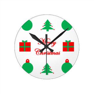 Frohe Weihnacht-Entwurf Runde Wanduhr