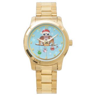 Frohe Weihnacht-Eule Armbanduhr