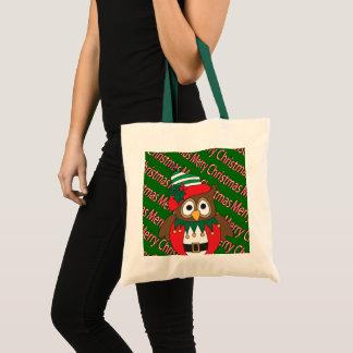 Frohe Weihnacht-Eule Tragetasche