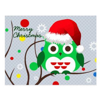 Frohe Weihnacht-Eulen-Trend Postkarte