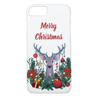 Frohe Weihnacht-Fall mit Weihnachtsrotwild iPhone 8/7 Hülle