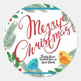 Frohe Weihnacht-FamilieBirdie tweeten Mitteilung Runder Aufkleber