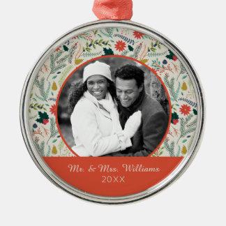 Frohe Weihnacht-Feiertag des Feiertags-Foto-| mit Silbernes Ornament