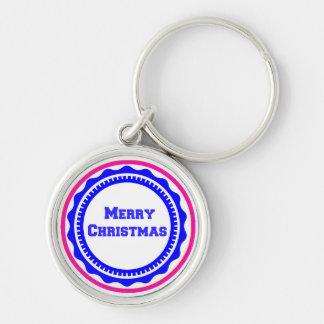 Frohe Weihnacht-Feiertag Keychains-Strumpf Stuffer Silberfarbener Runder Schlüsselanhänger