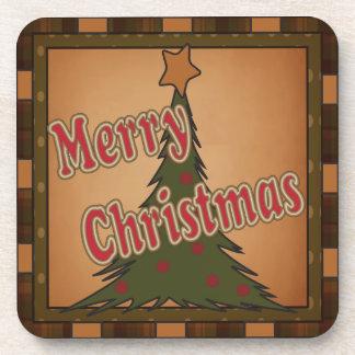 Frohe Weihnacht-Feiertags-Baum Cocktail Untersetzer