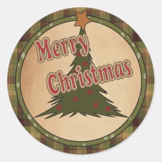 Frohe Weihnacht-Feiertags-Baum Runder Aufkleber