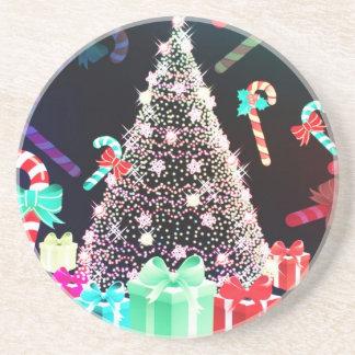 Frohe Weihnacht-Feiertags-Baum verziert celebratio Untersetzer
