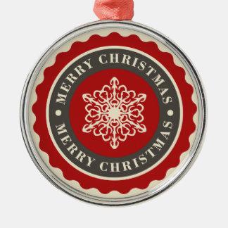 Frohe Weihnacht-Feiertags-Schneeflocke Rundes Silberfarbenes Ornament