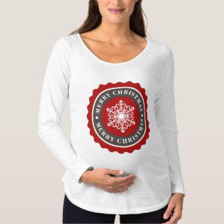 Frohe Weihnacht-Feiertags-Schneeflocke Schwangerschafts T-Shirt