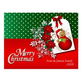 Frohe Weihnacht-Feiertags-Teddybär Postkarte