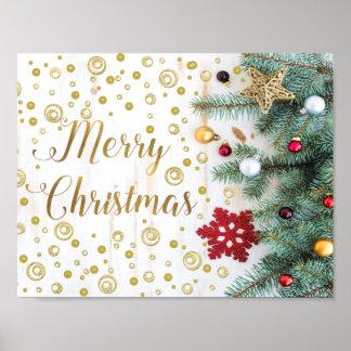 Frohe Weihnacht-festliche Baum-Goldkreise Poster