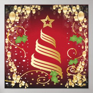Frohe Weihnacht-festliches helles Rot und Gold Poster