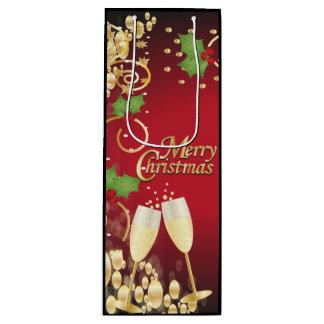 Frohe Weihnacht-festliches Rot und Gold Geschenktüte Für Weinflaschen