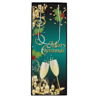 Frohe Weihnacht-festliches Türkis-Blau und Gold Geschenktüte Für Weinflaschen