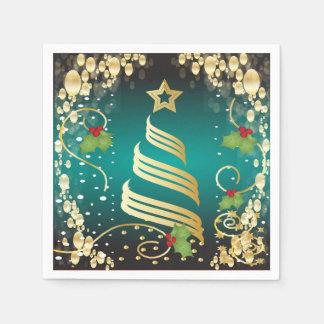 Frohe Weihnacht-festliches Türkis-Blau und Gold Papierserviette