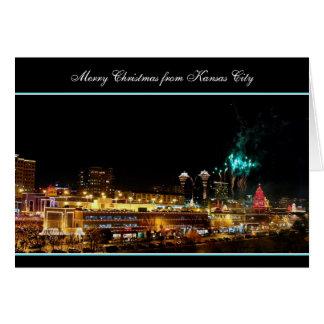 Frohe Weihnacht-Feuerwerks-Kansas- Karte