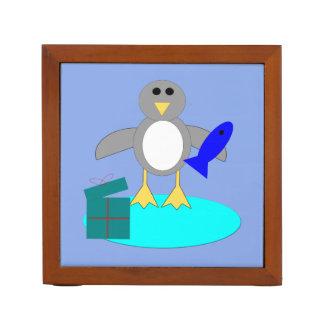 Frohe Weihnacht-Fischen-Pinguin-Schreibtisch Stifthalter