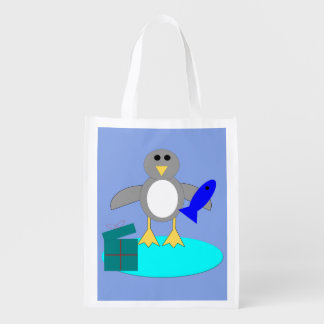 Frohe Weihnacht-Fischen-Pinguin-wiederverwendbare Wiederverwendbare Einkaufstasche