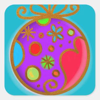 Frohe Weihnacht-Flitter-buntes lila Rot Quadratischer Aufkleber
