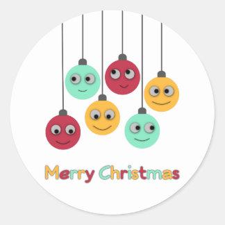 Frohe Weihnacht-Flitter Runder Aufkleber