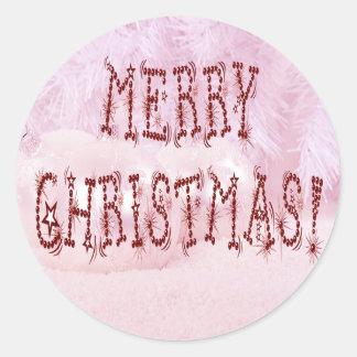 Frohe Weihnacht-Flitter und Stern-Schriftart Runder Aufkleber