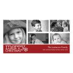 Frohe Weihnacht-Foto-Karte mit der Collage mit 5 F Photogrußkarten