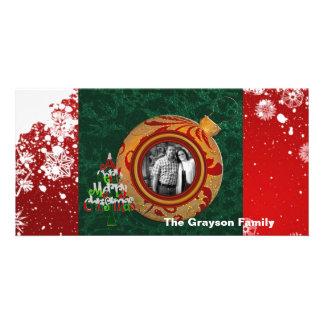 Frohe Weihnacht-Foto-Karten-rote grüne Verzierung Karte