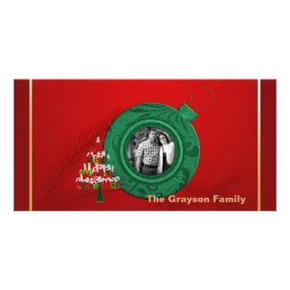 Frohe Weihnacht-Foto-Karten-rotes grünes Gold Karte