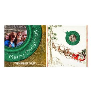 Frohe Weihnacht-Foto-Vintages Sankt-Ren Karte