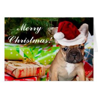 Frohe Weihnacht-französische Bulldoggen-Grußkarte Karte