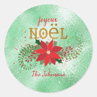 Frohe Weihnacht-französischer tadelloser Runder Aufkleber