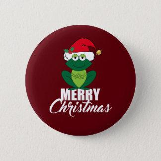 Frohe Weihnacht-Frosch Runder Button 5,7 Cm