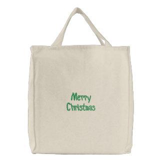 Frohe Weihnacht-gestickte Tasche