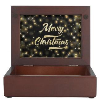 Frohe Weihnacht-Glitter Bokeh Goldschwarzes Erinnerungsdose