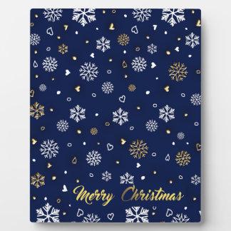 Frohe Weihnacht-Gold u. weiße Schneeflocken Fotoplatte