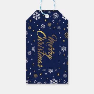 Frohe Weihnacht-Gold u. weiße Schneeflocken Geschenkanhänger