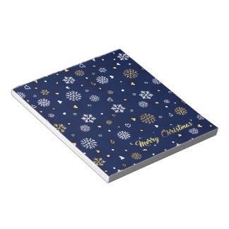 Frohe Weihnacht-Gold u. weiße Schneeflocken Notizblock