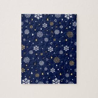 Frohe Weihnacht-Gold u. weiße Schneeflocken Puzzle