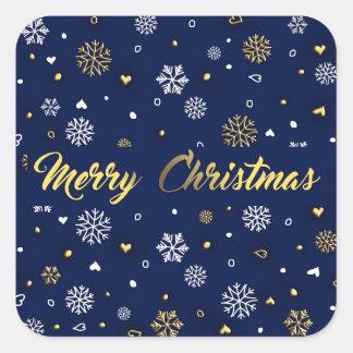 Frohe Weihnacht-Gold u. weiße Schneeflocken Quadratischer Aufkleber