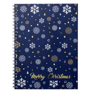 Frohe Weihnacht-Gold u. weiße Schneeflocken Spiral Notizblock