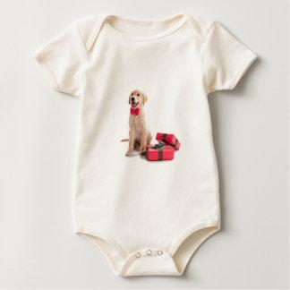 Frohe Weihnacht-golden retriever-Welpe Baby Strampler