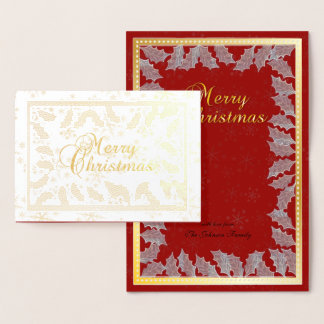 Frohe Weihnacht-Goldfolien-Stechpalmen-Blätter Folienkarte