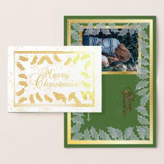 Frohe Weihnacht-Goldfolien-Stechpalmen-Blätter u. Folienkarte