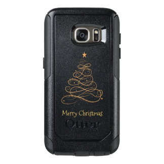 """Frohe Weihnacht-"" Goldmit filigran geschmückter OtterBox Samsung Galaxy S7 Hülle"