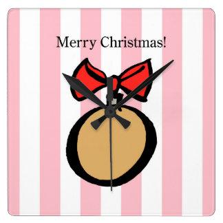 Frohe Weihnacht-Goldverzierungs-Quadrat-Wanduhr PK Quadratische Wanduhr